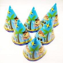 6 шт./пакет Симпатичные пиратские колпачки для детей счастливыми День рождения пиратские вечерние украшения тема Дети День рождения поставки Кепки