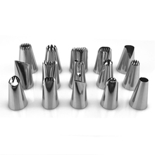 15 PCs/set Stainless Steel Icing Piping Nozzle Large Small DIY Cake Decorating Tips Pastry Cupcake Baking Tools Nozzles