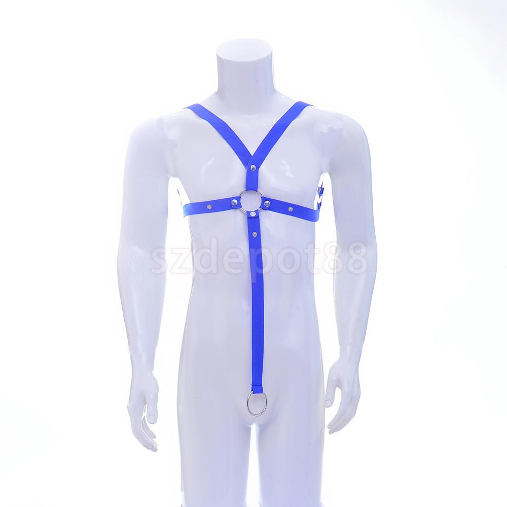 Sexy Mens Chest Harness Bodysuit Gay Bar Lingerie Clubwear Punk Strap Underwears Blue/Orange