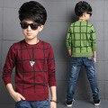 Niños Suéteres A Cuadros Que Basa Camisetas Niños Otoño Ropa de Punto Enfant Prendas de Punto Casual Niños Ropa Infantil Vestido 3-12Y