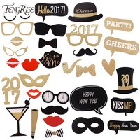 8 30pcs Glitter New Year 2017 Photo Booth Props Funny Mask DIY Glasses Happy New Year
