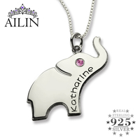 Wholesale Lucky Birthstone Elephant Necklace Silver Name Necklace Initial Elephant Necklace Luck with You Name Baby Jewelry