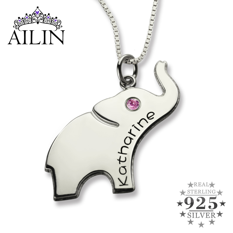 Wholesale Lucky Birthstone Elephant Necklace Silver Name Necklace Initial Elephant Necklace Luck with You Name Baby