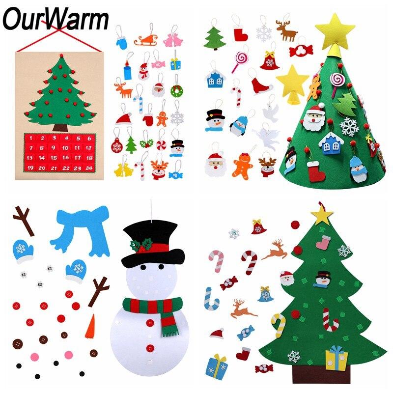 OurWarm DIY Filz Weihnachten Baum Partei Liefert Neue Jahr Dekoration Geschenke für Kinder Künstliche Baum Wand Hängen Ornamente