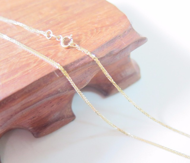 Pure 18K Yellow Gold Necklace Special 0.8mm Wheat Link Chain Necklace 17.7inch Length Hallmark: Au750 3