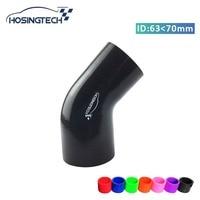 """HOSINGTECH hohe qualität 70mm bis 63mm (2 75 """" 2 5"""") schwarz 45 grad silikon ellenbogen schlauch reducer auf"""