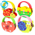 baby cartoon wooden rattle toys Kids Child music instrumental for infant animal bed rattles with rings