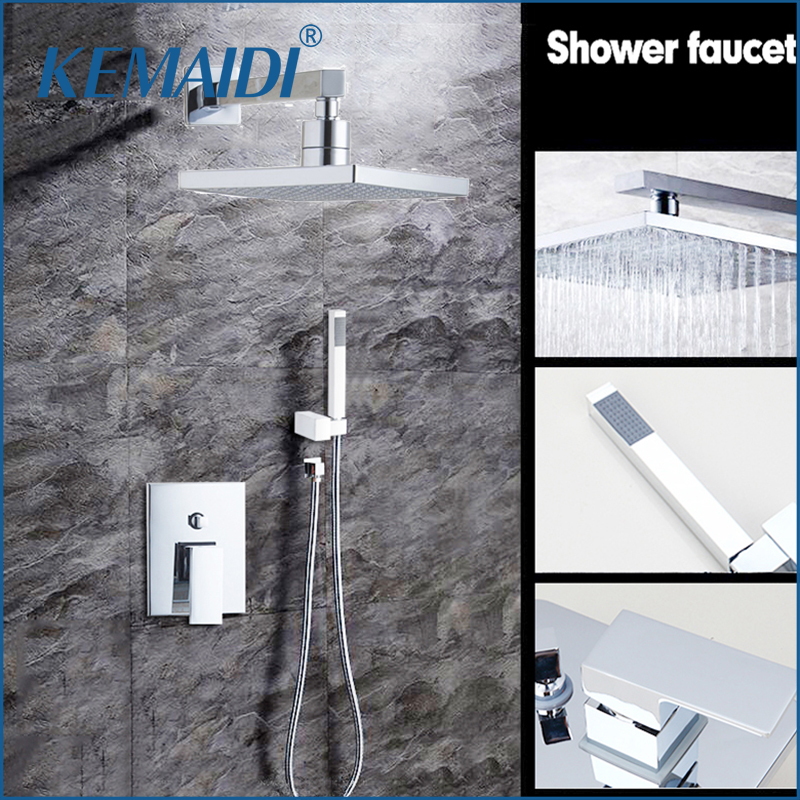 KEMAIDI 8 Rainfall Shower Head System Polished Chrome Bath & Shower Faucet Bathroom Rain Mixer Shower Combo Set Wall MountedKEMAIDI 8 Rainfall Shower Head System Polished Chrome Bath & Shower Faucet Bathroom Rain Mixer Shower Combo Set Wall Mounted