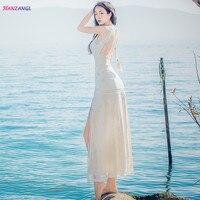 HANZANGL New Arrive 2018 Women Summer Dress Sleeveless High Split Sexy Lace Dress Backless Casual Long