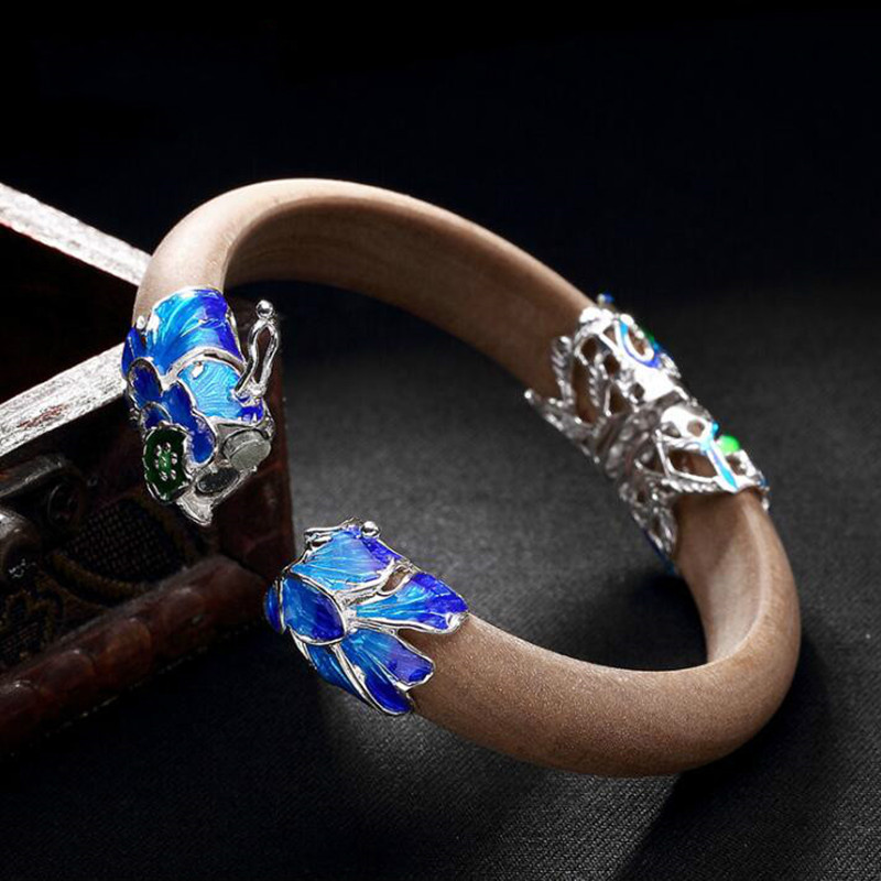 Real 925 Sterling Silver Bangles Women 12MM Thick Wide Sandalwood Bangle Luxury Vintage Cloisonne Enamel Floral Jewelry in Bangles from Jewelry Accessories