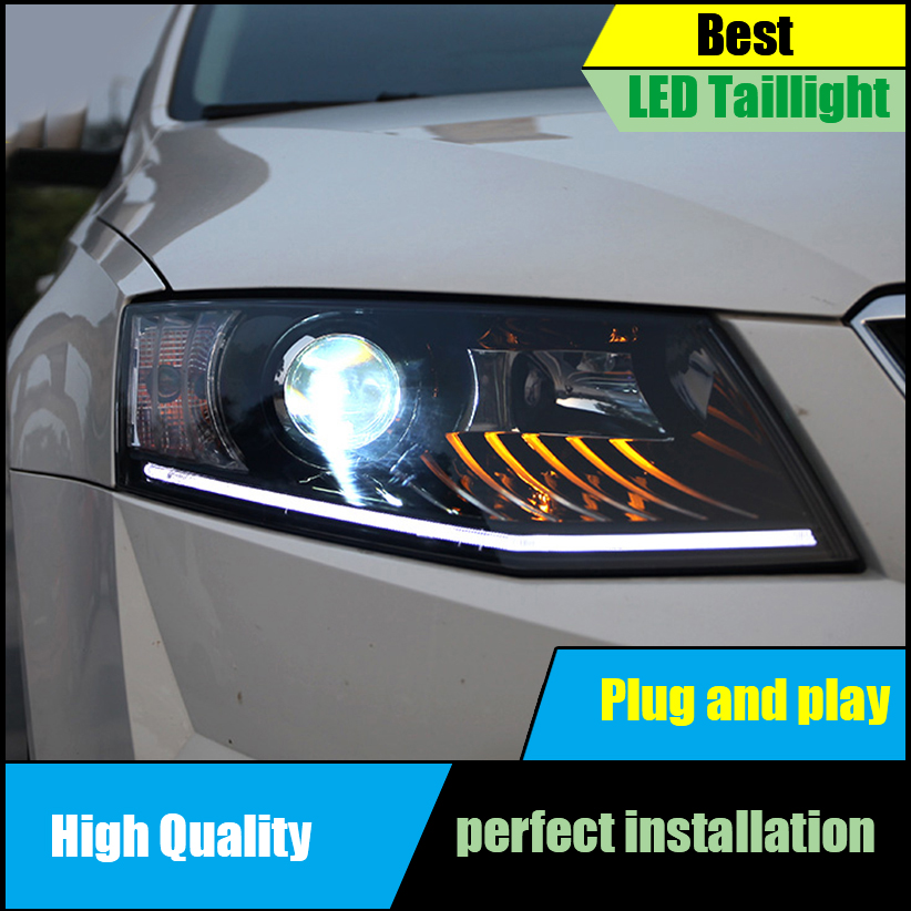 Car Styling Head Lamp for Skoda Octavia 2015 2017 Headlights LED Headlight ANGEL EYES DRL Bi Xenon Lens Automobile Accessories