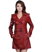 Mulheres Jaqueta de couro Top Fashion Novo Tamanho Mais Fino Dupla usar Pu Removível Senhoras Do Falso Couro Sintético Longo Trench Coat feminino