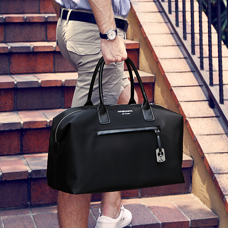 A1014 Pandean brand big travel duffle men's simple with handle High capacity black gary and blue bag soft man bag