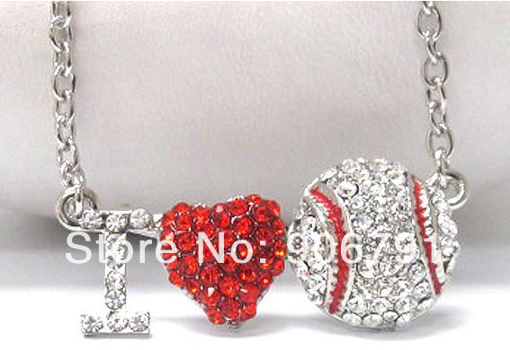 30pcs 1lot Alloy Silver Plated Red Heart With I Love Baseball Sport Series Pendant Necklaces To Be Distributed All Over The World