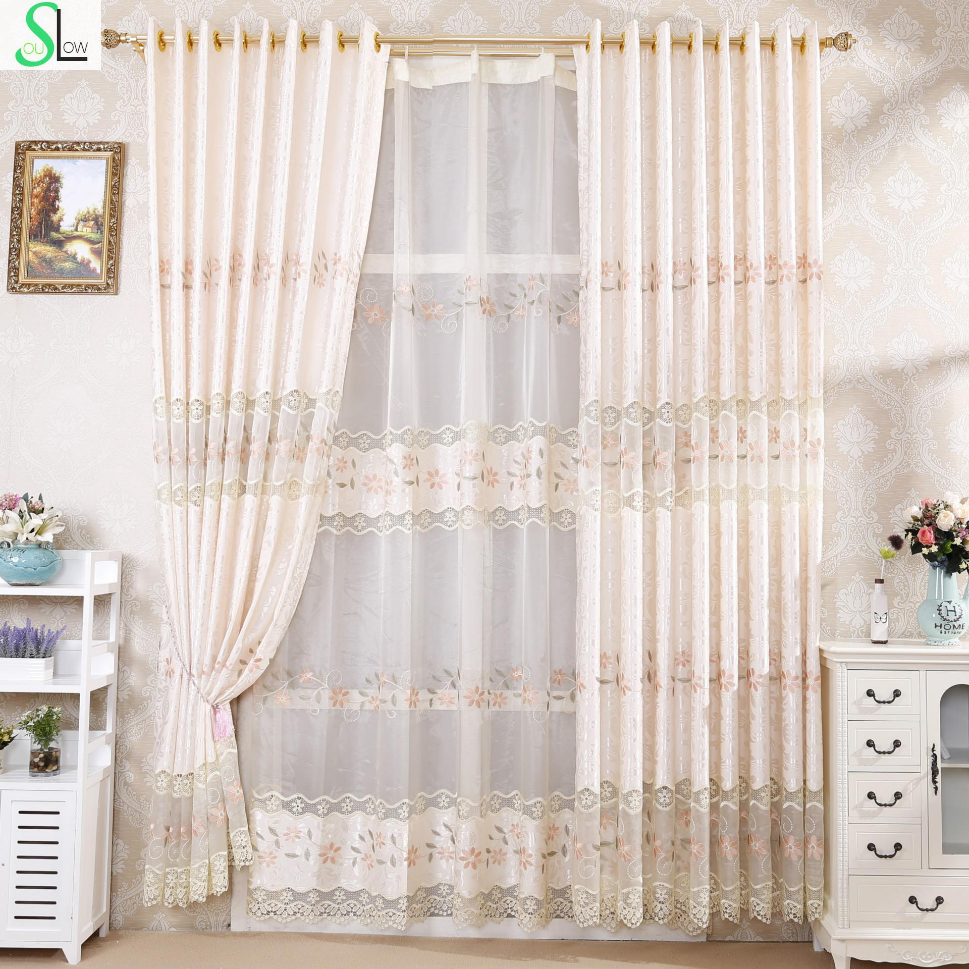 Slow Soul Water Soluble Embroidery European Curtain Fabric French Window Curtains For Living