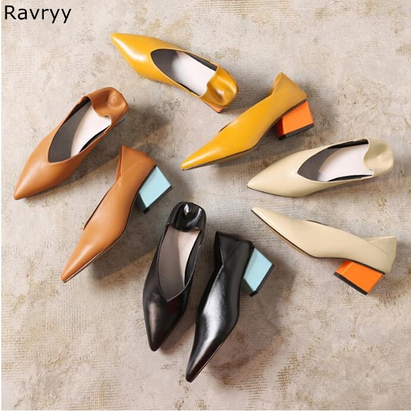 Candy Color Thick Heel Woman high heel Pointed Toe Sexy Pumps concise slip-on female dress shoes OL out fits elegant party shoes цены