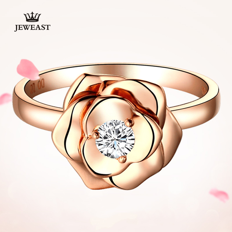 Natural Diamond 18K Gold Pure Gold Ring Real 18K Solid Gold Rings Upscale Trendy Classic Party Fine Jewelry Hot Sell New 2018 new pure au750 rose gold love ring lucky cute letter ring 1 13 1 23g hot sale