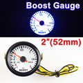 "Car Gauge 2"" 52mm Bar Turbo Boost Gauge -1~2 Bar Vacuum Press Meter for Auto Blue Light Black Rim Shell 12V"