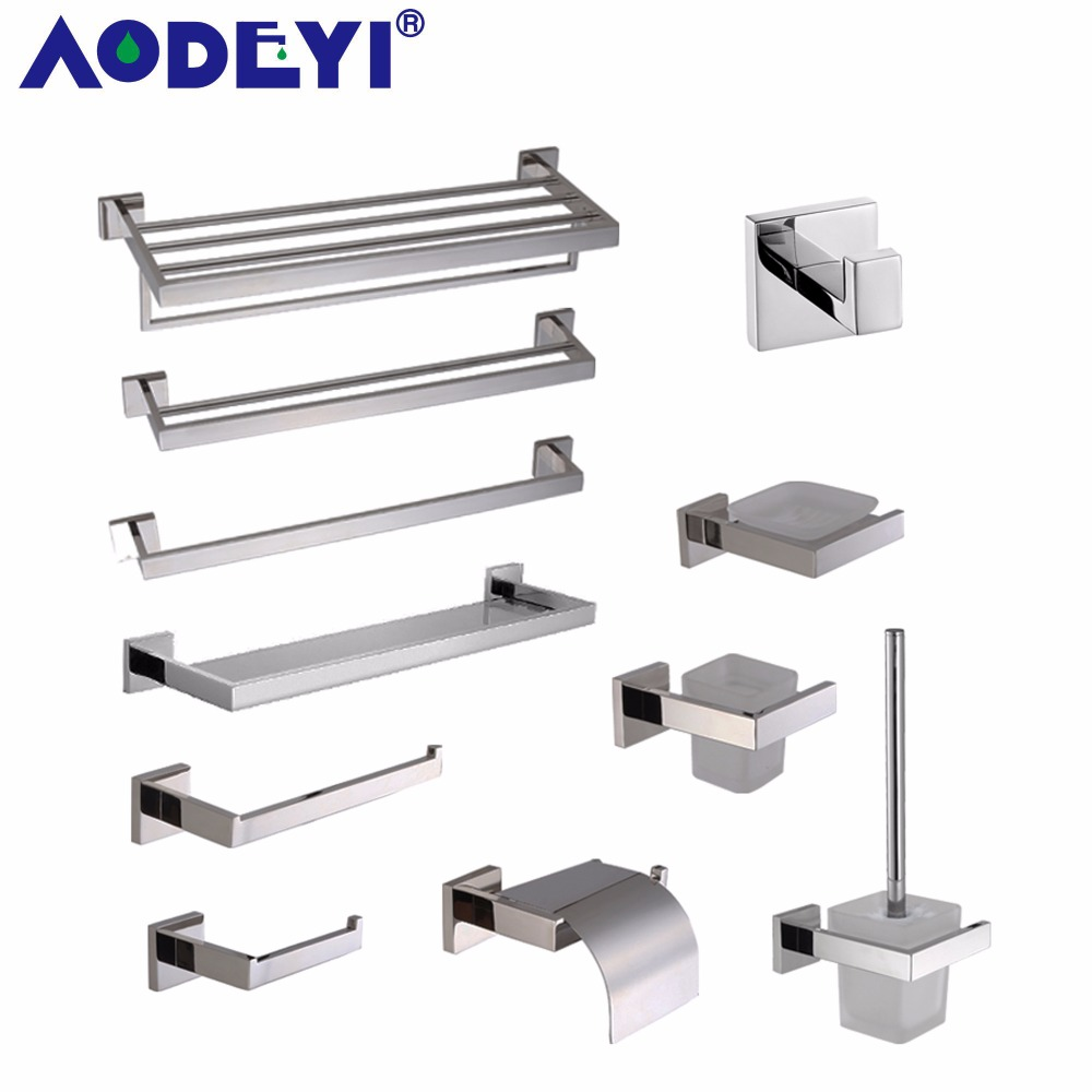 AODEYI <font><b>SUS</b></font> <font><b>304</b></font> Stainless Steel Bathroom Accessories Chrome Toothbrush Paper Holder Towel Bar Shelf Rack Bath Hardware Set 01-007 image