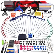 PDR Paintless Dent Repair Tools Push Rod Hooks Crowbar tool kit LED Light Reflector Board Glue Puller PDR Dent Removal tool kit
