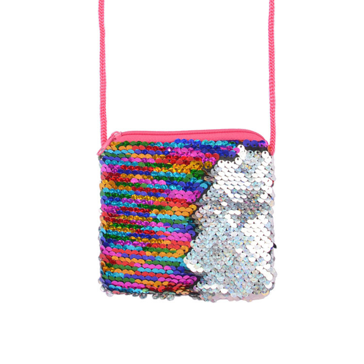 Nosii Pouch Long-String Messenger-Bag Square Zipper Mini Kids with for Girls Bling Wallet