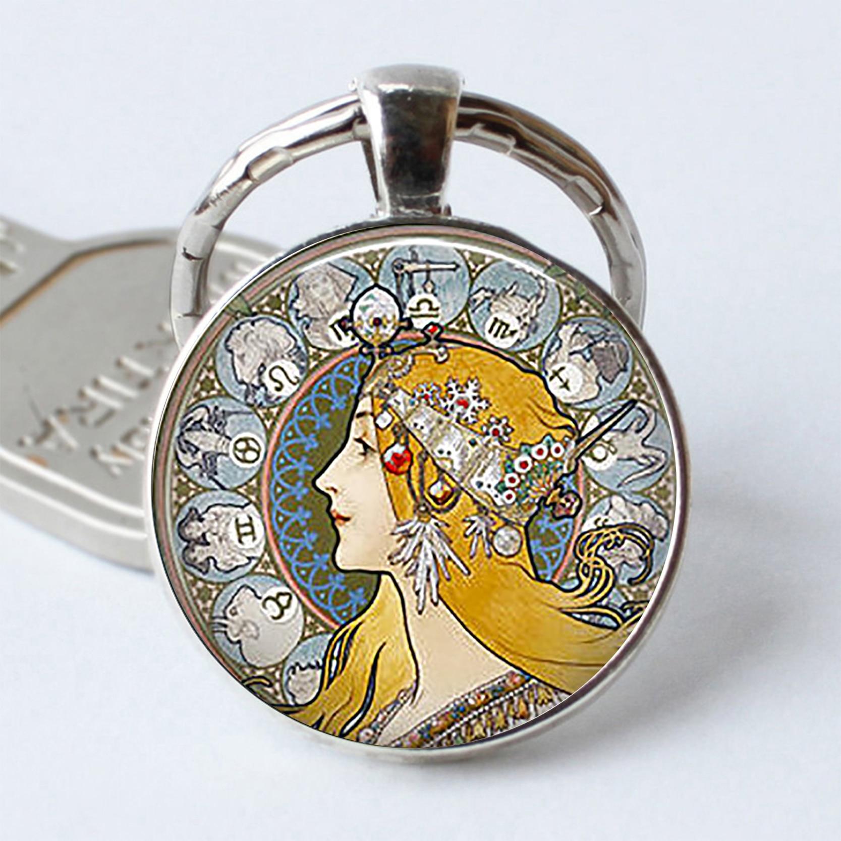Art Nouveau porte-clés zodiaque bijoux Mucha Art La Plume porte-clés astrologie rétro cadeau Cabochon d'astrologue porte-clés