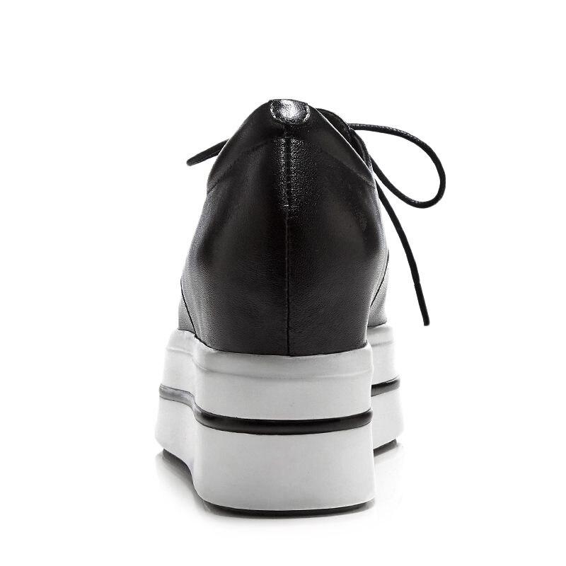 Baskets Cuir Bout Noir L73 Vulcanisé Fond Marque Épais blanc 2018 Mode Véritable Femmes À Lenkisen Haute Chaussures De Célèbre Rond Lacets EqzStcw