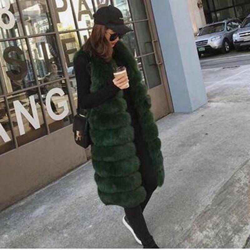 Élégantes Veste Color Green Manteau Fausse 2019 dark Gray true Black Long Sans Gilets Mode Wine Hiver Fourrure Manches Patchwork red Moyen En De Femmes dark Nouvelles Wun898 ZqY6SwYR