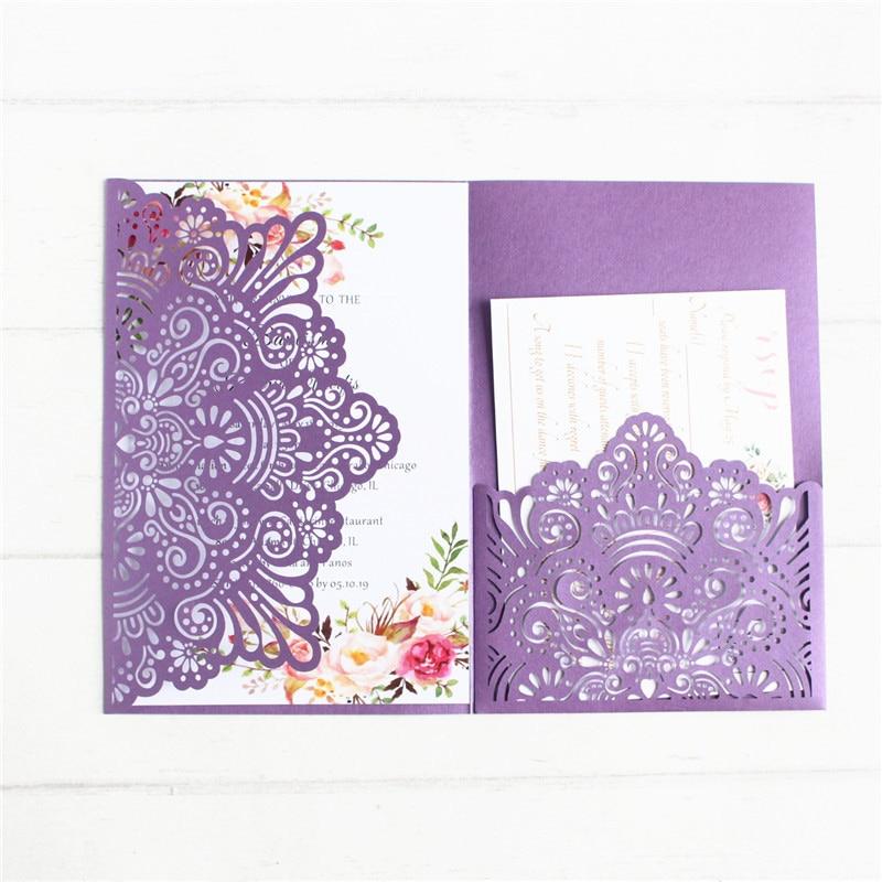 보라색 결혼식 초대장 우아한 세 배 접는 꽃 레이저 초대장 사용자 정의 인쇄-에서카드 & 초대장부터 홈 & 가든 의  그룹 1