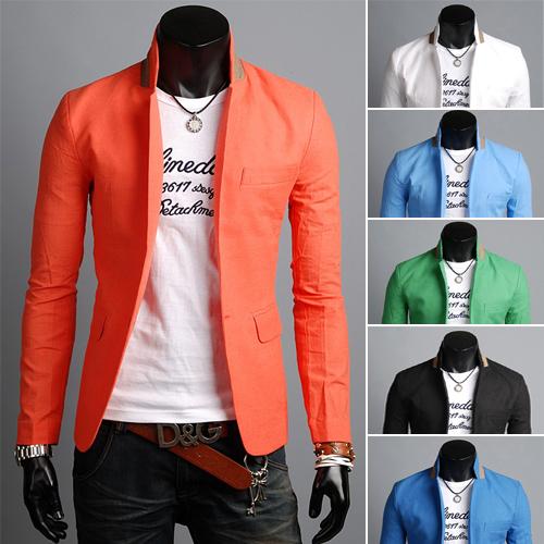 Hombres libres del envío traje de ocio color puro y alta calidad de material de lino material de seis color tamaño M - XXL