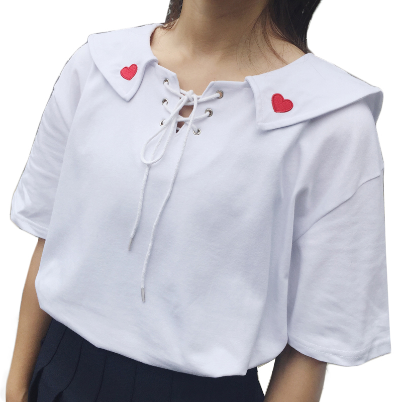 Harajuku Heart Embroidered Lace-Up t-Shirts