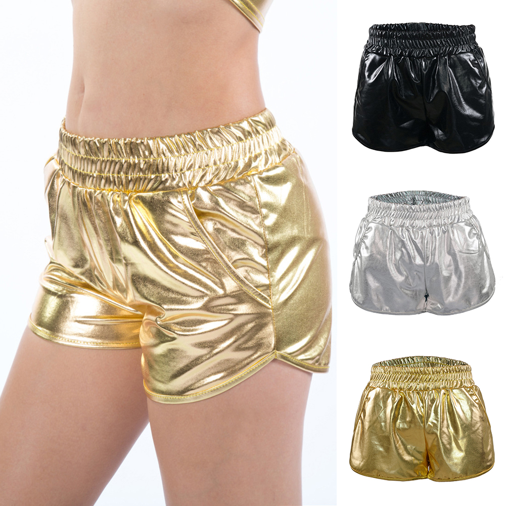 PU Leather Short Femme Summer Shorts Elastic Waist High Quality Gold Beach Casual PU Shorts Silver Bling Shorts Women