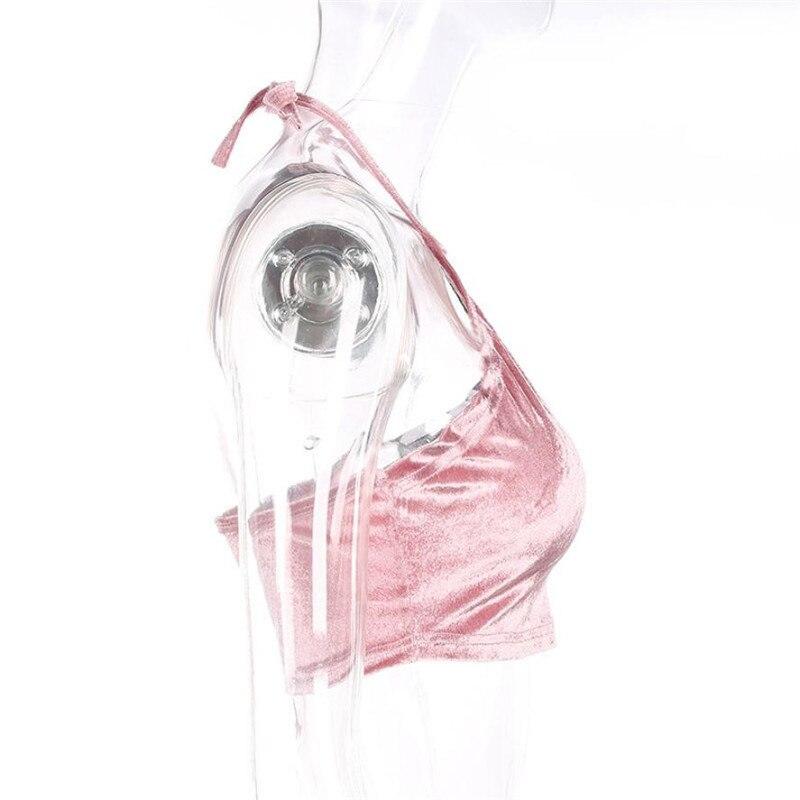 2017 mujeres Sling chaleco cuello de terciopelo costura hit color de ...