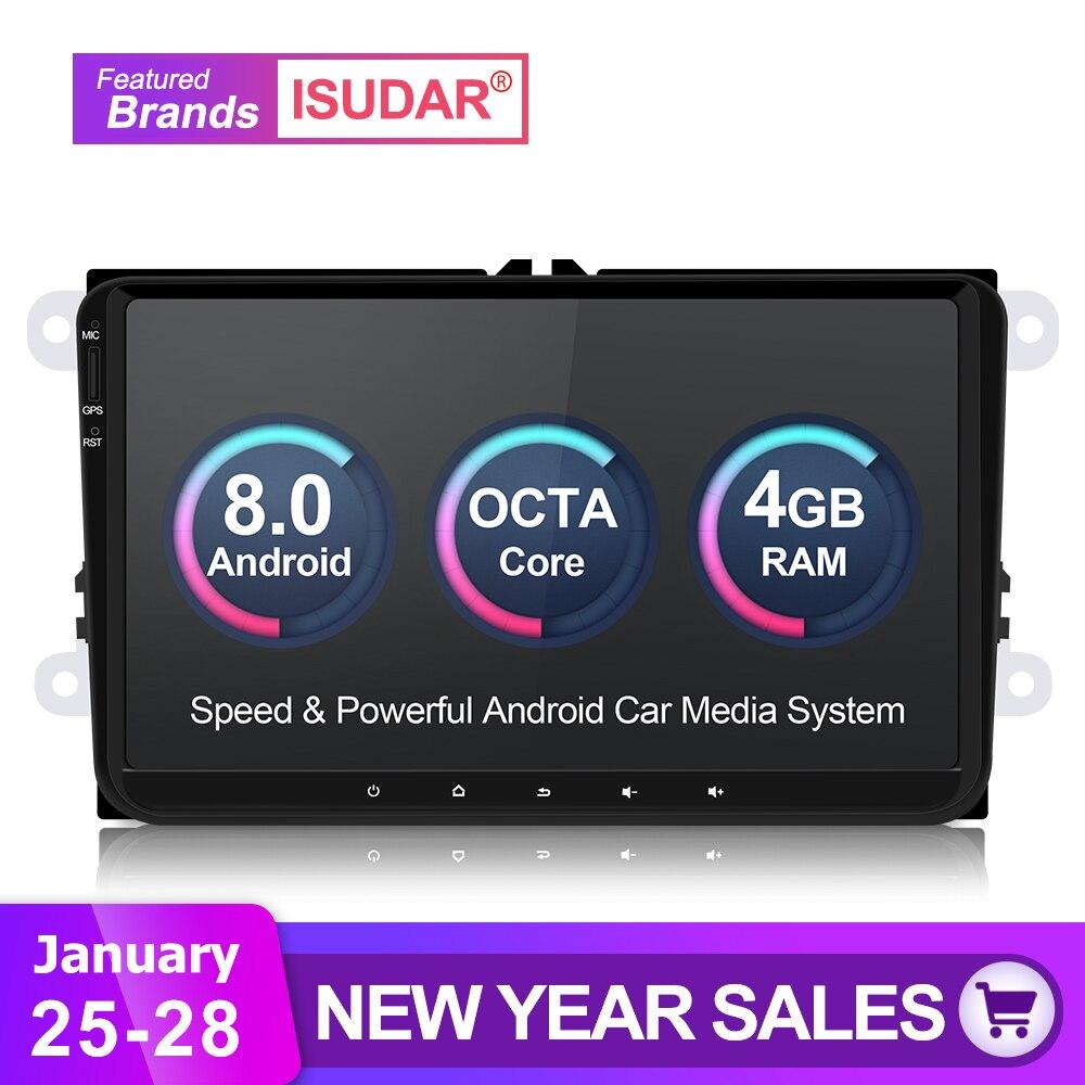 Isudar Voiture lecteur multimédia Android 8.0 GPS 1 Din Stéréo Pour Volkswagen/VW/POLO/PASSAT/Golf/ skoda/Octavia/Siège/Leon Radio IPS