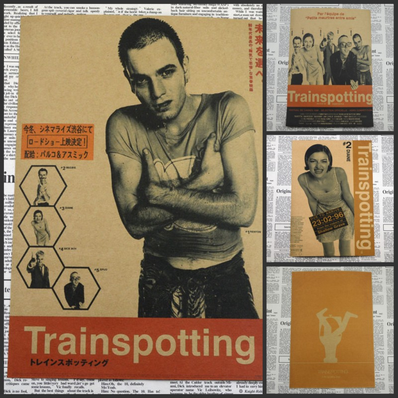 Trainspotting Ewan McGregor Classic Movie Poster Home Furnishing decoration Kraft Movie Poster Drawing core Wall stickers/1010