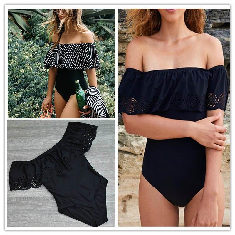 2017 New Sexy Off The Shoulder Solid Swimwear Women One Piece Swimsuit Female Bathing Suit Ruffle Monokini Swim Wear XL