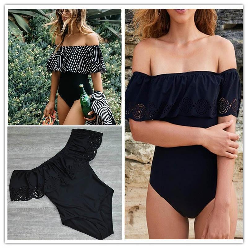 2017 Nuovo Sexy Al Largo Della Spalla Solido Costumi Da Bagno Delle Donne di Un Pezzo del Costume Da Bagno Femminile Costume Da Bagno Ruffle Monokini Costumi Da Bagno XL