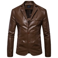 MarKyi 2019 new two button casual leather blazer jacket men plus size 5xl slim fit long sleeve pu leather jacket for men