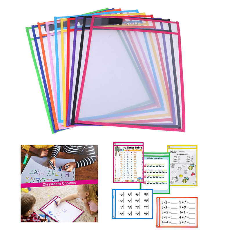 1pc Reusable Dry Erasable Pockets Transparent Write And Wipe Drawing Board Dry Brush Bag File Pocket For Teaching Kids Pastels