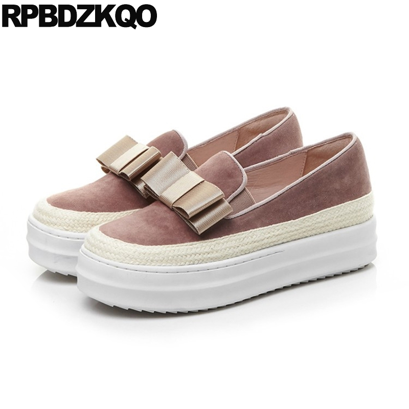 Women 10 Thick Sole Large Size Creepers 42 Muffin Designer Shoes China Flats Pink Bow 11 Walking Elevator Fashion Beautiful Drop