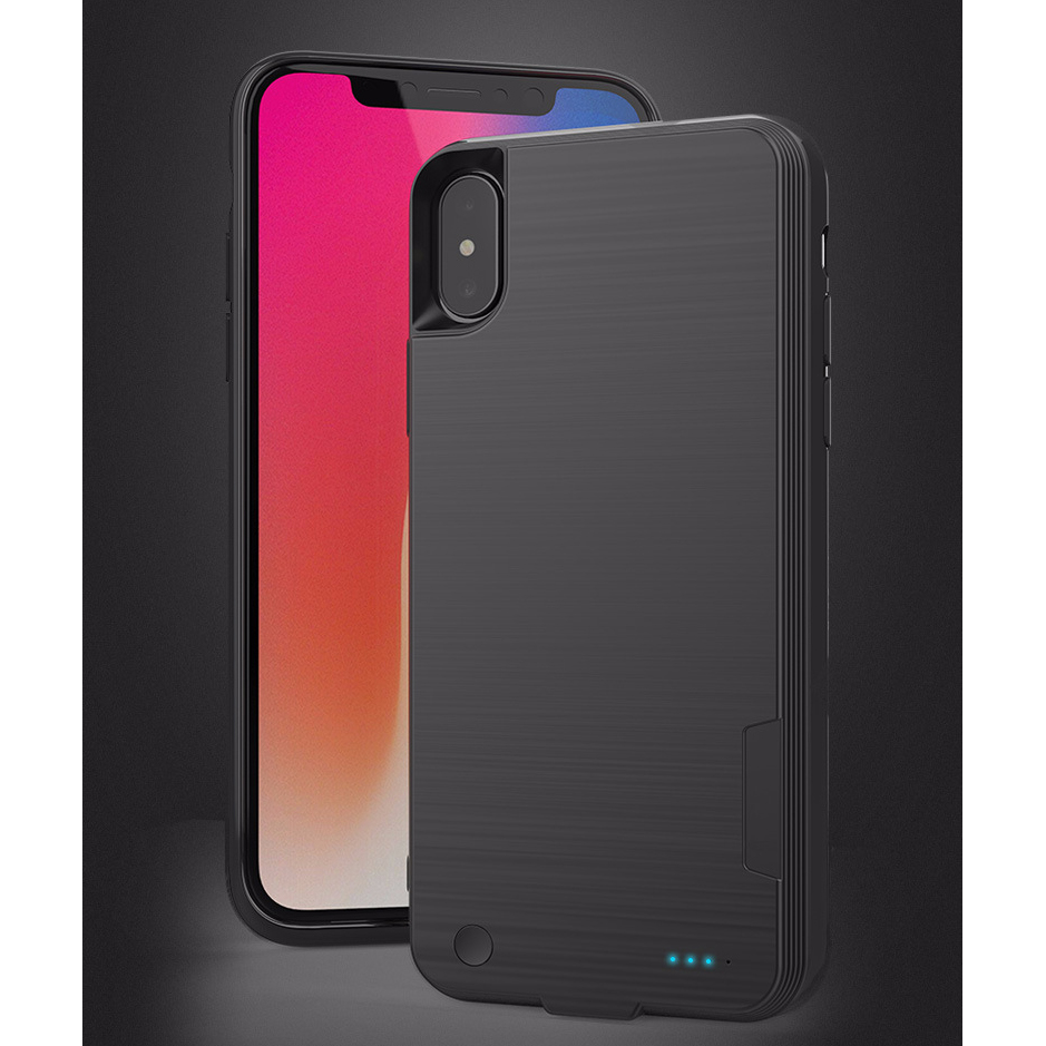 With Wireless charging Battery Charger Portable Power Bank Case For iPhone X ABS+ soft copper Brushed back Cover Coque 4000mAh