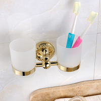 AUSWIND Classical European Brass Cup Tumbler Holders Carved Gold Double Cup Couples Wash Toothbrush Holder Bathroom