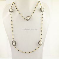 DIY 4Pcs Gold Plated Black Crystal Chains Pave Rhinestone Pearl Beads Charm Necklaces Jewelry Finding