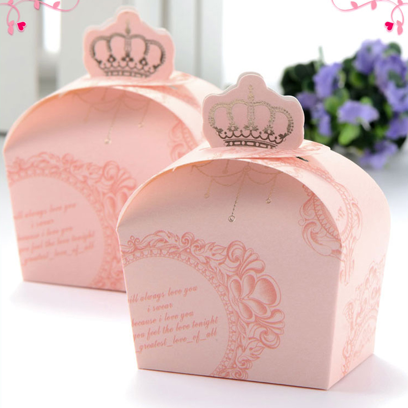 (50 Pieces/lot) Wedding Decorations Pink Color Crown Candy Box Gift Box For  Wedding Favors Baby Shower B049