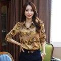 2015 women's flower print long-sleeve turn down collar chiffon shirt Elegant blouses for women