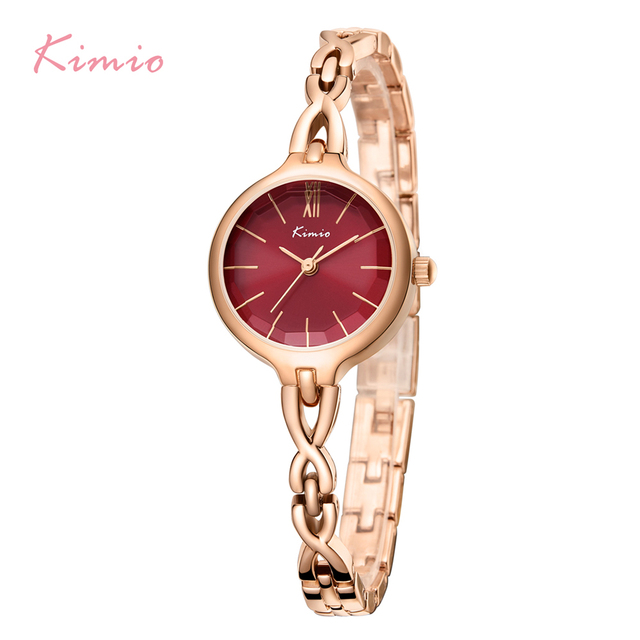 KIMIO Women Wristwatches Full Stainless Steel Bracelet Watch Hollow Pointer Japa
