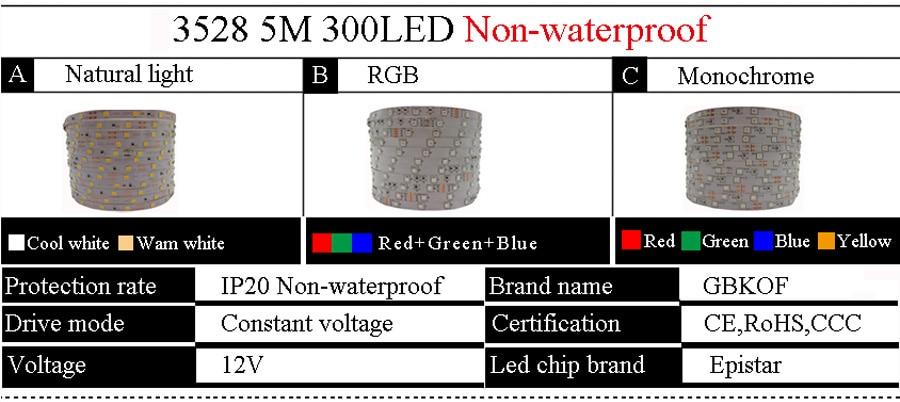 5 meter 300Leds Non-waterproof RGB Led Strip Light 2835 DC12V 60LedsM Flexible Lighting String Ribbon Tape Lamp Home Decoration (1)
