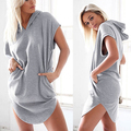 Women's Summer Fashion Solid Color Hooded Long Hoodie Sweatshirt Dress