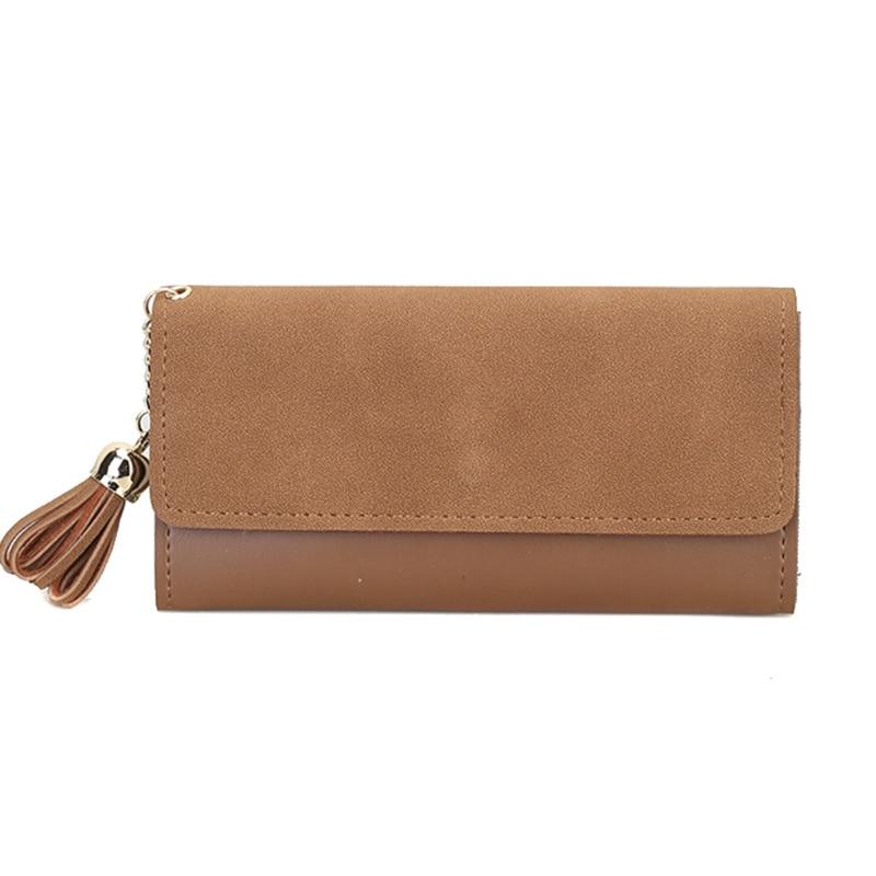 Women Wallet Female Purse Leather Scrub Tassel Long Three Fold Wallets Cash Pocket Luxury Designer Card Coin Holder Clutch Purse покрывало pmp 03