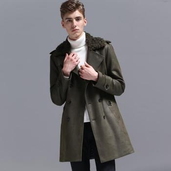 Mens trench coats man long coat men clothes slim fit Warm fur collar double breasted overcoat long sleeve autumn winter fashion